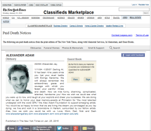 NYT paid obituary from classified section